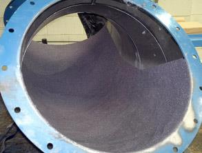 Internal bend coated with Belzona 1812 (Ceramic Carbide FP)