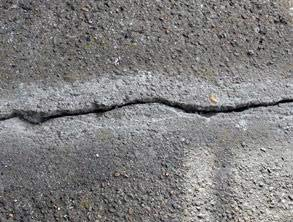 Concrete cracks on the balcony following surface preparation